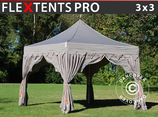"Carpa plegable FleXtents PRO ""Raj"" 3x3m Latte/Naranja"