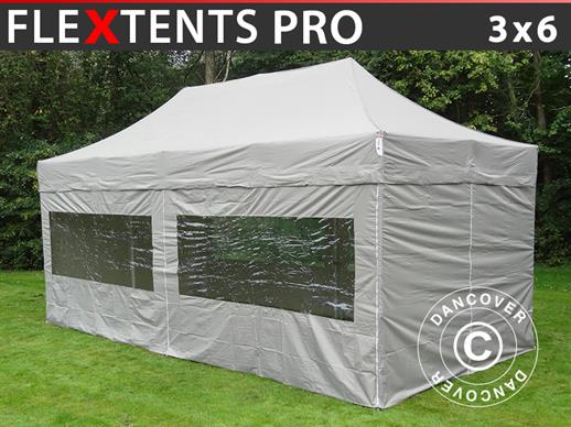 Carpa plegable FleXtents PRO 3x6m Latte, Incl. 6 lados