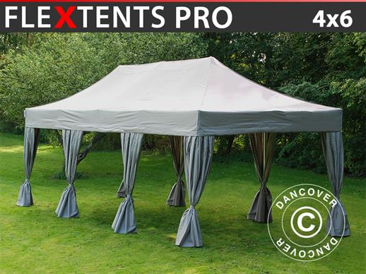 Pop up gazebo FleXtents PRO 4x6 m Latte, incl. 8 decorative curtains