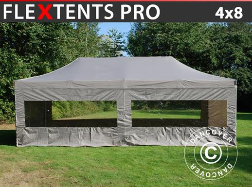 Carpa plegable FleXtents PRO 4x8m Latte, incl. 6 lados