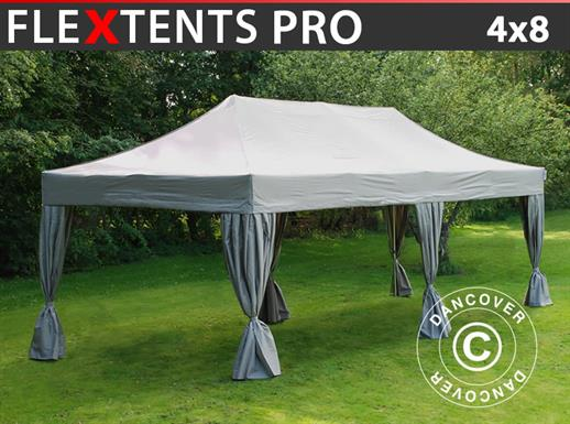 Vouwtent/Easy up tent FleXtents PRO 4x8m Latte, inkl. 6 decoratieve gordijnen