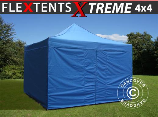 Pop up gazebo FleXtents Xtreme 60 4x4 m Blue, incl. 4 sidewalls