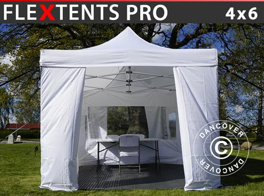 Visitor tent FleXtents PRO 4x6 m White, incl. 8 sidewalls and 1 transparent partition wall