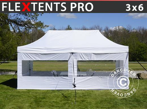Visitor tent FleXtents PRO 3x6 m White, incl. 6 sidewalls and 1 transparent partition wall
