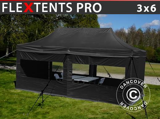 Visitor tent FleXtents PRO 3x6 m Black, incl. 6 sidewalls and 1 transparent partition wall