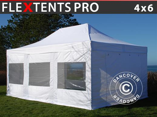Vouwtent/Easy up tent FleXtents PRO 4x6m Wit, inkl. 8 Zijwanden