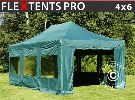 Vouwtent/Easy up tent FleXtents PRO 4x6m Groen, inkl. 8 Zijwanden