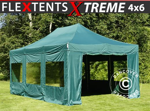 Pop up gazebo FleXtents Xtreme 50 4x6 m Green, incl. 8 sidewalls