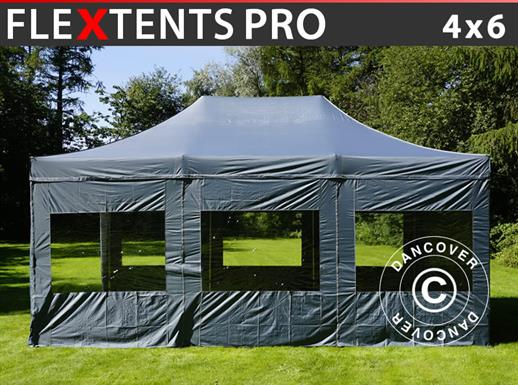 Pop up gazebo FleXtents PRO 4x6 m Grey, incl. 8 sidewalls