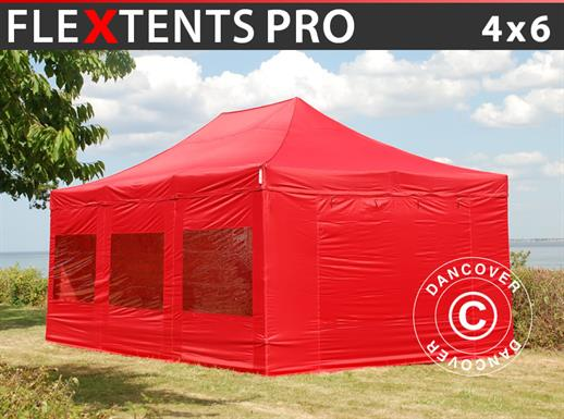 Vouwtent/Easy up tent FleXtents PRO 4x6m Rood, inkl. 8 Zijwanden