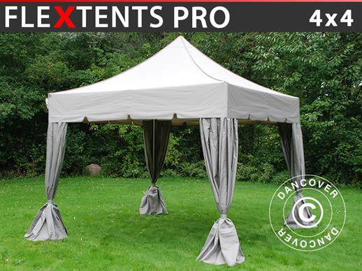 "Pop up gazebo FleXtents PRO ""Peaked"" 4x4 m Latte, incl. 4 decorative curtains"