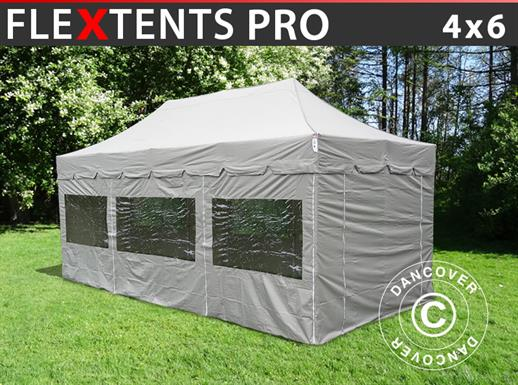 "Quick-up telt FleXtents PRO ""Peaked"" 4x6m Latte, inkl. 8 sider"