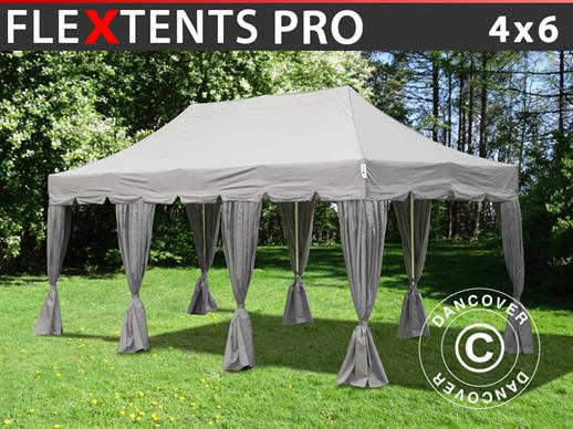 "Tenda Dobrável FleXtents PRO ""Peaked"" 4x6m Latte, incl. 8 cortinas decorativas"