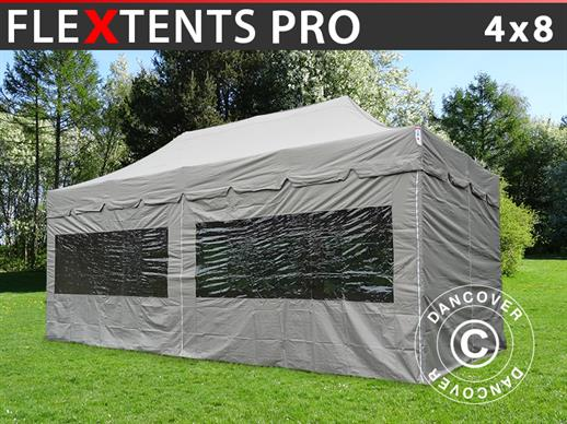 "Pop up gazebo FleXtents PRO ""Peaked"" 4x8 m Latte, incl. 6 sidewalls"