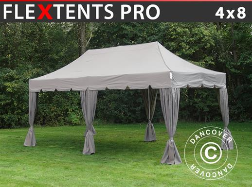 "Carpa plegable FleXtents PRO ""Peaked"" 4x8m Latte, incl. 6 cortinas decorativas"
