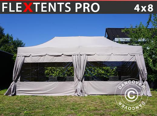 "Pop up gazebo FleXtents PRO ""Peaked"" 4x8 m Latte, incl. 6 sidewalls and 6 decorative curtains"
