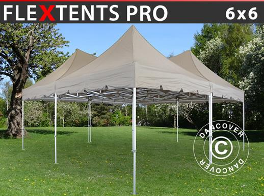 Quick-up teltet FleXtents PRO Peak Pagoda 6x6m, Latte