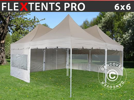 Pop up gazebo FleXtents PRO Peak Pagoda 6x6 m, Latte, Incl. 8 sidewalls