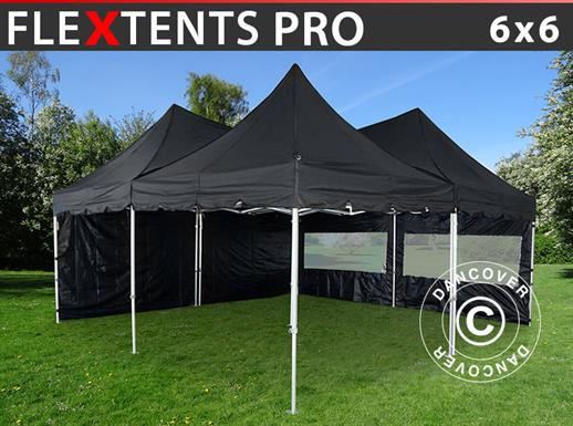 Pop up gazebo FleXtents PRO Peak Pagoda 6x6 m, Black, Incl. 8 sidewalls