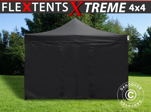 Pop up gazebo FleXtents Xtreme 4x4 m Black, incl. 4 sidewalls