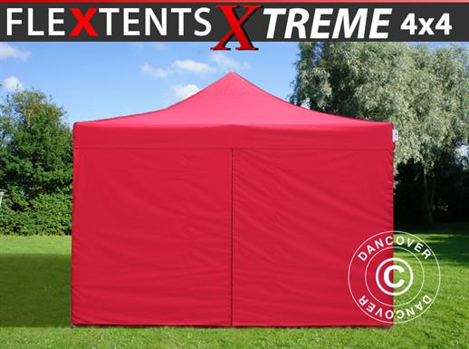 Pop up gazebo FleXtents Xtreme 4x4 m Red, incl. 4 sidewalls