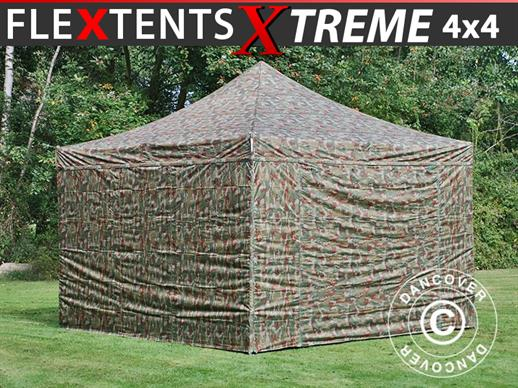 Pop up gazebo FleXtents Xtreme 50 4x4 m Camouflage/Military, incl. 4 sidewalls