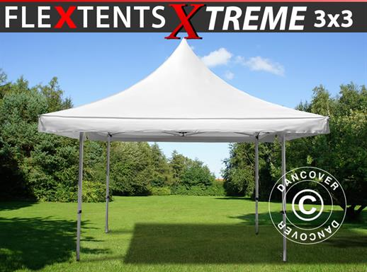 Carpa plegable FleXtents Pagoda Xtreme 3x3m / (4x4m) Blanco