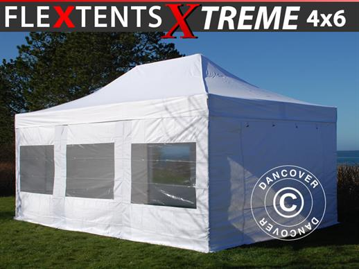 Quick-up telt FleXtents Xtreme 4x6m Hvit, inkl. 8 sider