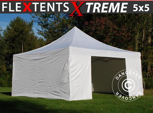 Quick-up telt FleXtents Xtreme 50 5x5m Hvit, inkl. 4 sider
