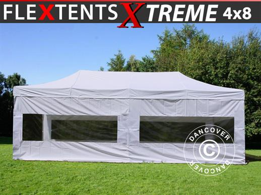 Pop up gazebo FleXtents Xtreme 50 4x8 m White, incl. 6 sidewalls