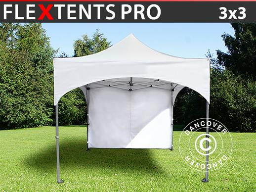 "Quick-up telt FleXtents PRO ""Arched"" 3x3m Hvit, inkl. 4 sider"