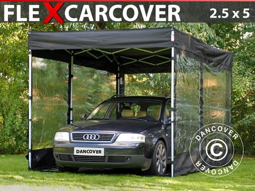 Foldegarage FleX Carcover, 2,5x5m, Sort