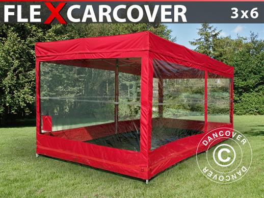 Folding garage FleX Carcover, 3x6 m, Red