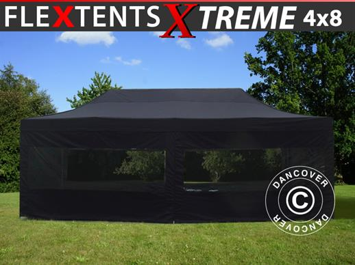 Carpa plegable FleXtents Xtreme 60 4x8m Negro, Incl. 6 lados
