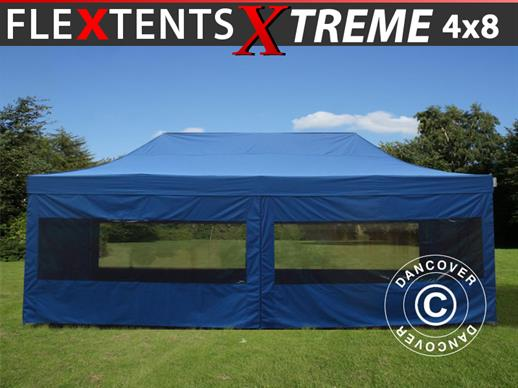Quick-up telt FleXtents Xtreme 60 4x8m Blå, med 6 sider