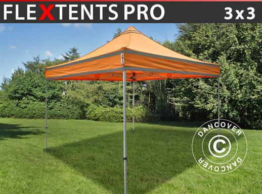Pop up gazebo FleXtents PRO Work tent 3x3 m Orange Reflective