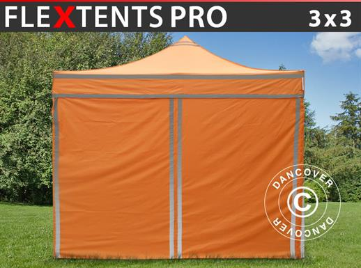 Pop up gazebo FleXtents PRO Work tent 3x3 m Orange Reflective, incl. 4 sidewalls