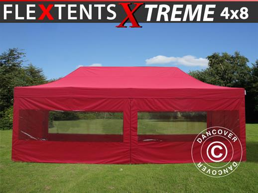 Pop up gazebo FleXtents Xtreme 60 4x8 m Red, incl. 6 sidewalls