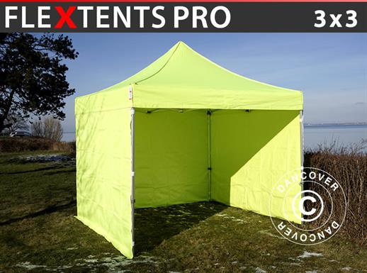 Pop up gazebo FleXtents PRO 3x3 m Neon yellow/green, incl. 4 sidewalls