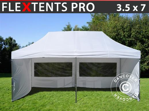 Pop up gazebo FleXtents PRO 3.5x7 m White, incl. 6 sidewalls