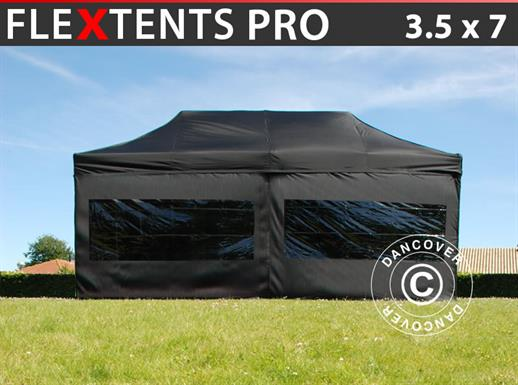 Vouwtent/Easy up tent FleXtents PRO 3,5x7m Zwart, inkl. 6 zijwanden