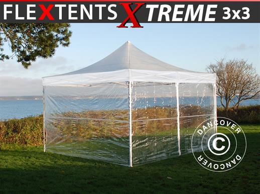 Tenda Dobrável FleXtents Xtreme 50 3x3m Transparente, incl. 4 paredes laterais