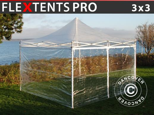 Vouwtent/Easy up tent FleXtents PRO 3x3m Doorzichtig, inkl. 4 Zijwanden