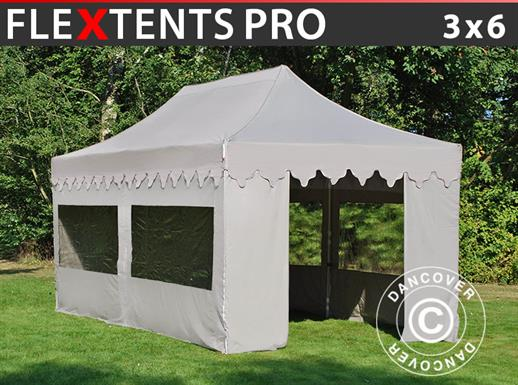 "Pop up gazebo FleXtents PRO ""Morocco"" 3x6 m Latte, incl. 6 sidewalls"