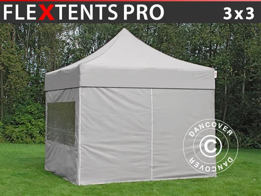Pop up gazebo FleXtents PRO 3x3 m Latte, incl. 4 sidewalls