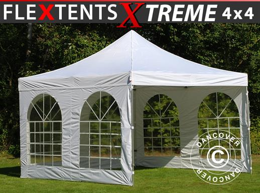 Vouwtent/Easy up tent FleXtents Xtreme 50 Vintage Style 4x4m Wit, inkl. 4 Zijwanden