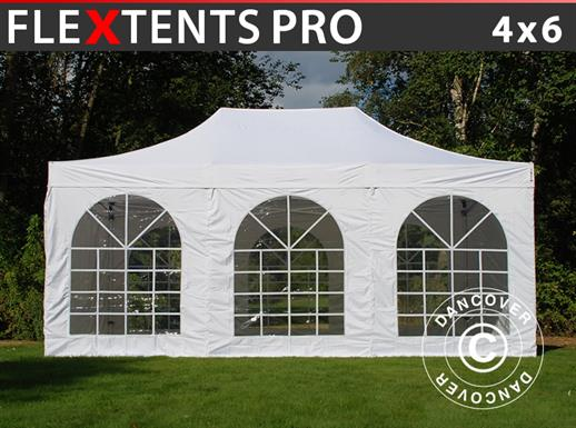 Pop up gazebo FleXtents PRO Vintage Style 4x6 m White, incl. 8 sidewalls