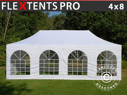 Carpa plegable FleXtents PRO Vintage Style 4x8m Blanco, incl. 6 lados