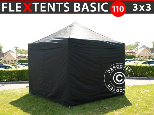 Pop up gazebo FleXtents Basic 110, 3x3 m Black, incl. 4 sidewalls
