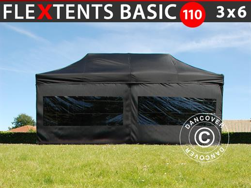 Tenda Dobrável FleXtents Basic 110, 3x6m Preto, incl. 6 paredes laterais
